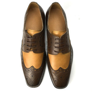 China Brown Hand Painted Leather Dress Shoes 2018 Handmade Office