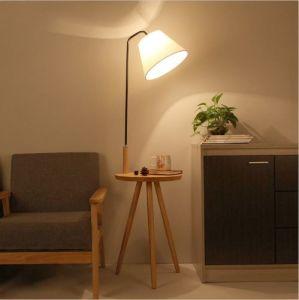Leden Modern Wooden Floor Lamp With Side Table Tripod Stand Lighting