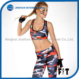 The New Ladies Fashion Camouflage Printing Fitness Active Wear Women Sports Bra and Gym Leggings