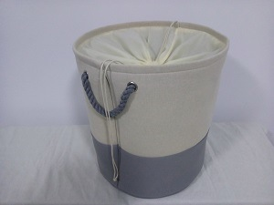 Canvas Round Laundry Hamper with 2 Rope Handles and Fabric Cover on Top and EVA Inside