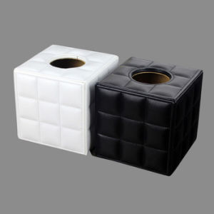 Fine Stitched Grid Leather Tissue Paper Boxes pictures & photos