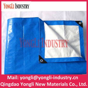UV Treated Blue Silver Ready Made PE Tarpaulin with PP Rope and Aluminum Eyelet pictures & photos