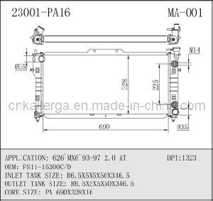 Auto Radiator for Mazda 626 Mx6 93 97 2 0 at 23001 MA 001 china auto radiator for mazda 626`mx6`93 97 2 0 at 23001 (ma 001