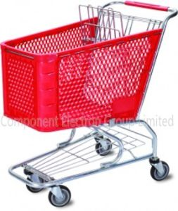 Supermarket Plastic Shopping Cart, Plastic Shopping Cart/Metal Trolley Cart/Shopping Plastic Trolley Cart (100L)