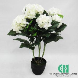 China Artificial Silk Hydrangea Flower Bonsai For Indoor Decoration