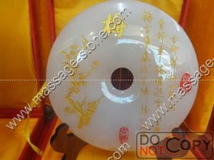 Engraved Jade Bi and Jade Disc for Home Decoration