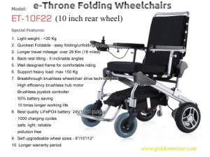 8′′ 10′′ 12′′ E-Throne Folding Wheelchair, Mobility Scooter for Olderly, Disabled and Handicapped pictures & photos