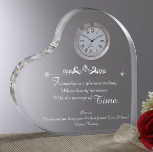 Heart Shape Crystal Clock for Home Decoration pictures & photos