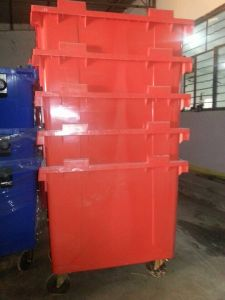 660L Plastic Waste Bin with Four Wheels and Open Top Structure pictures & photos