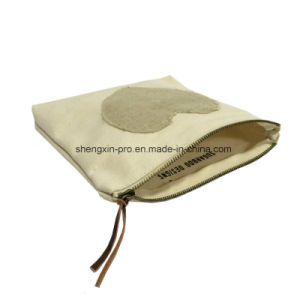 Simple Cotton Cosmetic Bag with Copper Zipper
