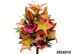 Artificial/Plastic/Silk Flower Tiger Lily/Rose/Gerbera Mixed Bush (2924018)