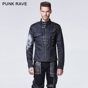 2015 Autumn New Design Punk Rave Black Man Printed Coat (Y-610)