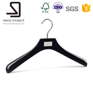 Black Wooden Hanger, Wooden Clothes Hanger, Hanger with Clips pictures & photos
