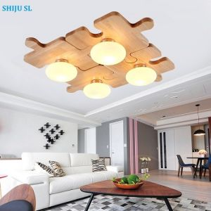 Superior SL LED DIY Ceiling Lamp North European Jigsaw Puzzle Wood Ceiling Lights  Bedroom Jigsaw Wood Ceiling