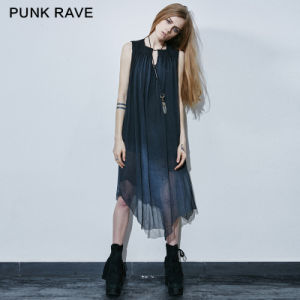 Pq-125 Punk Rave Brand Magician Conjures Beautiful Fish Tail Real Silk A Shape Long Dress