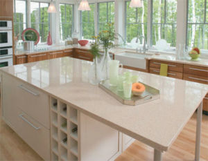 White Quartzite Countertop for Kitchen of Quartz Stone Materials pictures & photos