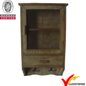 Vintage Black Storage Small Wood Wall Cabinet with Glass Doors pictures & photos