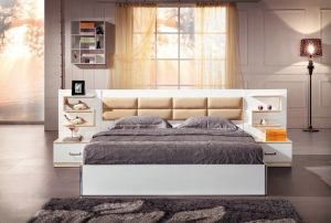 China MDF Bedroom Furniture Sets in Double Bed - China PU Bedhead ...