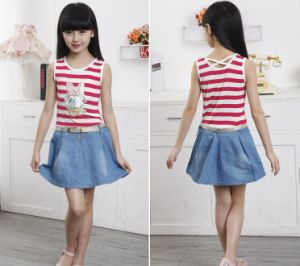 Girl′s Summer Dress/Children Striped Denim Skirt/ Vest Skirt pictures & photos