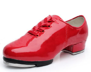Unisex Red/White/Black Patent Leather Tap Shoes