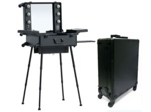 Professional Aluminum Trolley Makeup Case With Lights Mirror Stands Cosmetic Station Studio