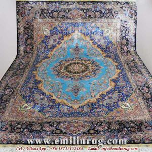Pure Silk Handmade Carpet Rugs Blue