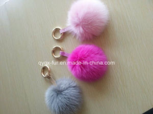 Dyed Color Real Fox Fur POM Poms Keychain Qy-0021