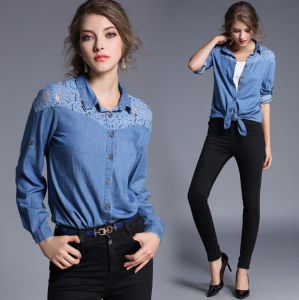Wholesale Autumn New Desing Collar with Buttons Lace Washed Long Sleeves Lady′s Jean Shirt