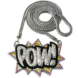 Zinc Alloy Iced out Pow Hiphop Necklace with Rhinestones Fashion Jewelry Set (KW-PNW-9A005)