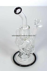 Double Chamber Honeycomb Glass Smoking Water Pipe with White Accent pictures & photos