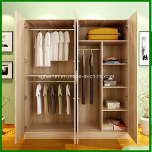 4 Doors Wood Panel Wardrobe Cabinet pictures & photos