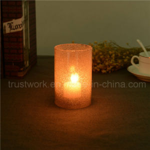 Smoking Sanded Jewel Glass Candle Holder