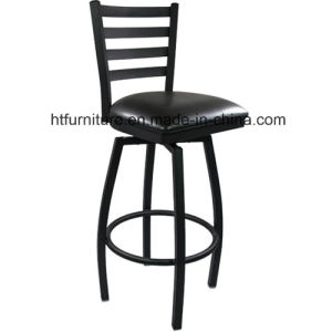 Metal Ladder Back Barstool with Vinyl Swivel Seat