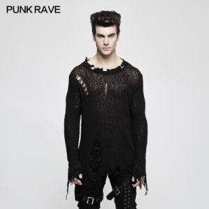 M 038 Punk Rave Autumn New Design Actor Tearing Black Men Sweater Thin
