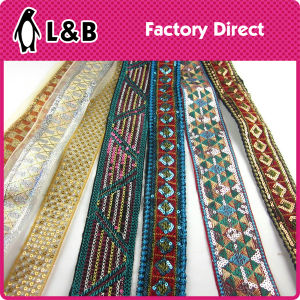 Wholesale Iron on / Sewing on Colorful Sequined Lace Trim for Clothing Decoration pictures & photos