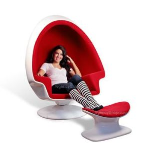 Foshan Factory Fiberglass Swivel Replica Lee West Stereo Alpha Egg Pod Chair  With Speaker