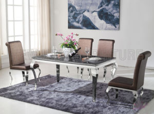 Popular Hot Sell Marble Top Dining Table with Stainless Steel Leg (NK-DT080)