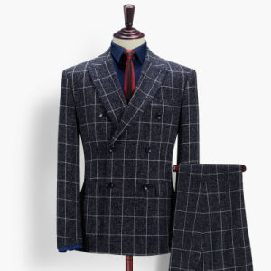 Wholesale Navy Check Slim Men Suits for Wedding pictures & photos