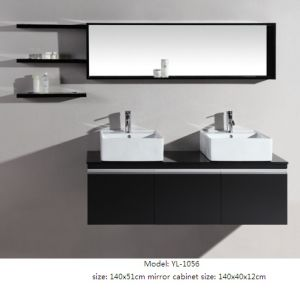 Double Sink Bathroom Cabinet MDF Furniture with Mirror