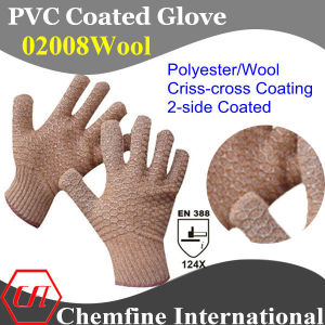 10g Brown Polyester/Wool Knitted Glove with 2-Side Brown PVC Criss-Cross Coating/ En388: 124X pictures & photos