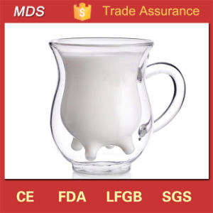 Innovative Product Double Wall Glass Milk Mug with Handle pictures & photos