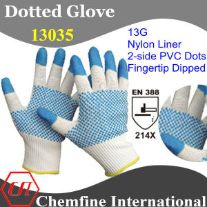 13G White Nylon Knitted Glove with 2-Side Blue Nitrile Dots on Palm & Blue Nitrile Smooth Coating on Fingertip/ En388: 214X pictures & photos