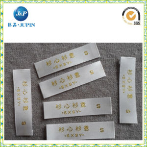 Custom Printed White Woven Label with Gold Woven on It (JP-CL023) pictures & photos