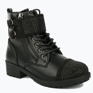 Black Girls School Leather Winter Kids Boots for Children
