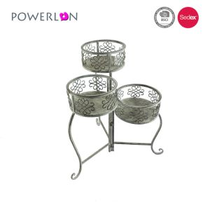 Shabby Vintage White Metal Flower Stand with Three Pot on Stand Side Table Chic Plant French