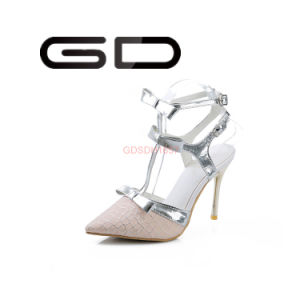 Latest Fancy Women Pointed Toe Shoes Lace Material High Heel Sandals