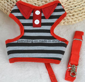 Stripe Polo Shirt Dog Harness and Leash Set pictures & photos