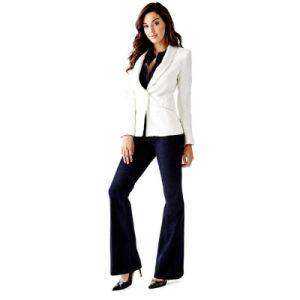 China Fancy Ladies Paisley Fabric Suit Women White Pants Suit
