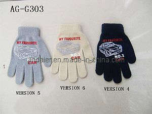 Ladies Acrylic Gloves With Printing (Car Design) (AG-G303)