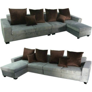 Grey Color L Shape Couch Chaise Furniture Fabric Sofa with Cushions (S892)